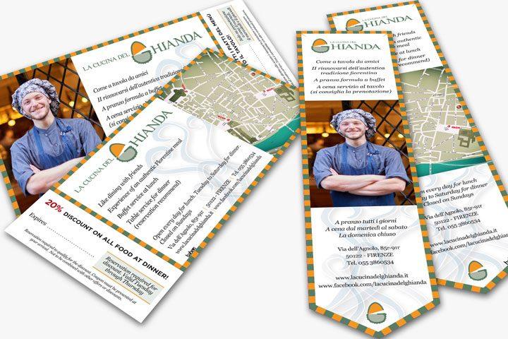 Volantino per mailing e segnalibro/cartina | La Cucina del Ghianda